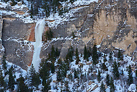 I spotted this icefall while driving through Ten Sleep Canyon. The north-facing side of the canyon does not see any sunlight all winter.