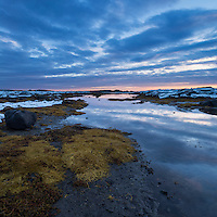 Coastal mudflats at sunset, near Nedredal, Vestvågøy, Lofoten Islands, Norway
