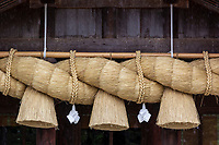 Shimenawa are ropes found at Shinto shrines, the grandest and largest of which is found at Izumo Taisha. They are strung acrosstorii gates that are used to demarcate the boundary between the sacred and the outside world. The origins of theshimenawaare unclear though it has been suggested that they came from the tradition of tieing a rope to something to mark ownership. Others suggest it comes from the habit of Central Asian nomads who strung a rope around their campsite.