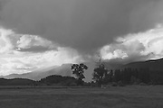 Cyclonic Thunderhead Over Indian Head, Cottonwood Trees, Indian Valley, Sierra Nevada Mountains, storm clouds, thunder head cloud