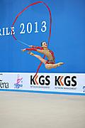 Rizatdinova Anna during final at ribbon in Pesaro World Cup at Adriatic Arena on April 28, 2013. Anna was born on July 16, 1993 in Simferopol, she is a Ukrainian individual rhythmic gymnast.
