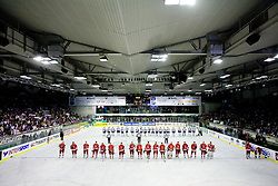 Players of Poland (red) and players of Slovenia after the IIHF Ice-hockey World Championships Division I Group B match between National teams of Slovenia and Poland, on April 17, 2010, in Tivoli hall, Ljubljana, Slovenia. (Photo by Vid Ponikvar / Sportida)