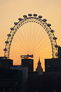 The London Eye, a large Observation Wheel, silhouetted by a low sun amongst buildings and Big Ben in London, UK
