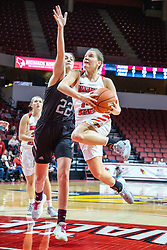 NORMAL, IL - February 27: Paige Saylor flies past defender Alexa Willard to the hoop during a college women's basketball game between the ISU Redbirds and the Bears of Missouri State February 27 2020 at Redbird Arena in Normal, IL. (Photo by Alan Look)