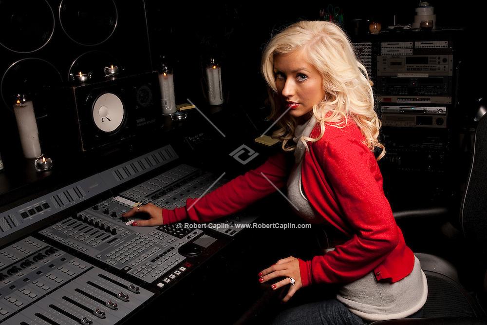 Recording artist Christina Aguilera inside Sony Studios...(Photo by Robert Caplin)..