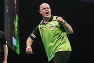 Michael van Gerwen hits a double and wins a leg and celebrates during the Unibet Premier League darts at Motorpoint Arena, Cardiff, Wales on 20 February 2020.