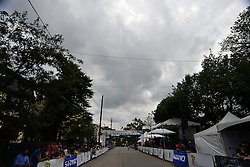 Dark clouds pack over the finish line as Megan Gaurnier of USA wins the UCI Women's World Tour Philadelphia Cycling Classic on Sunday June 5th, 2016. Pro-cyclist compete at a 73.8miles/118.7km course in Philadelphia Pennsylvania