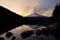 Twilight at Trillium Lake, reflecting Mt Hood