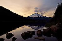 Twilight at Trillium Lake, reflecting Mt Hood