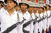 The Vietnamese army  parades their wares during the  celebrations marking the 10th anniversary of the country's defeat of the America army in the bitter war that claimed 58.000 of their lives, Hue city, Vietnam.