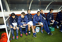 30/10/2004<br />FA Barclays Premiership - Fulham v Tottenham Hotspur - Craven Cottage, London<br />A dejected Tottenham Hotspur bench of (L to R) Simon Davies, Michael Carrick, Mauricio Tarrico, Fredi Kanouté and reserve goalkeeper Kasey Keller .<br />Photo:Jed Leicester/Back Page Images