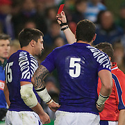 Paul Williams, Samoa, (left) is sent off for striking Heinrich Briussow, South Africa,  during the South Africa V Samoa, Pool D match during the IRB Rugby World Cup tournament. North Harbour Stadium, Auckland, New Zealand, 30th September 2011. Photo Tim Clayton...