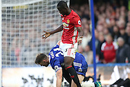 Eric Bailly of Manchester United clashes with Gary Cahill of Chelsea.Premier league match, Chelsea v Manchester Utd at Stamford Bridge in London on Sunday 23rd October 2016.<br /> pic by John Patrick Fletcher, Andrew Orchard sports photography.