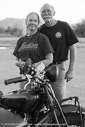 Gary Wright poses with his 1930 Indian Chief with his wife Linda Bendorf who rode the entire way in the sidecar during Stage 11 (289 miles) of the Motorcycle Cannonball Cross-Country Endurance Run, which on this day ran from Grand Junction, CO to Springville, UT., USA. Tuesday, September 16, 2014.  Photography ©2014 Michael Lichter.