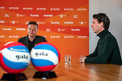 Presenter Etienne Verhoeff,,Tom van Kuyk (sponsor strategist Rabobank) during the talk show of the Dutch volleyball association. The association wants to start a professionalization process with which they want to strengthen recreational sport in the coming years on March 8, 2021 in Utrecht