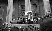 """Sinn Fein (Provo) Dublin Parade.   K22..1976..25.04.1976..04.25.1976..25th April 1976..Sinn Fein held an Easter Rising Commemorative  parade..The parade started at St Stephens Green, Dublin and proceeded through the streets to the G.P.O.in O'Connell Street, the scene of the centre of the 1916 uprising..Image taken as """"The Last Post"""" is played on the reviewing stand."""