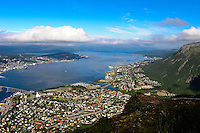 Norway, Tromsø. A cable car goes up to mount Storsteinen, 421 metres above sea level, with a panoramic view over Tromsø.