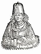 Pliny the Elder (Gaius Plinius Secundus) (23-79). Roman writer on natural history who died in the eruption of  the volcano Vesuvius in 79 because, being eager to observe the phenomenon, he landed at Stabiae (Castellamare) and was soon stifled by the fumes. Woodcut from 'Liber chronicarum mundi' (Nuremberg Chronicle) by Hartmann Schedel (Nuremberg), 1493. Gaio Plinio Secondo, scrittore romano morto durante l'eruzione del vulcano Vesuvio del 79.