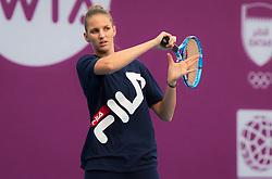 February 11, 2019 - Doha, Spain - Karolina Pliskova of the Czech Republic practices ahead of the 2019 Qatar Total Open WTA Premier tennis tournament (Credit Image: © AFP7 via ZUMA Wire)