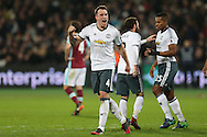 Phil Jones of Manchester United celebrates after Zlatan Ibrahimovic of Manchester United (not pictured) scores his sides 2nd goal. Premier league match, West Ham Utd v Manchester Utd at the London Stadium, Queen Elizabeth Olympic Park in London on Monday 2nd January 2017.<br /> pic by John Patrick Fletcher, Andrew Orchard sports photography.