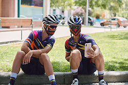 Hannah Barnes (GBR) and Elena Cecchini (ITA) pose for a mask selfie at the 2020 Clasica Feminas De Navarra, a 122.9 km road race starting and finishing in Pamplona, Spain on July 24, 2020. Photo by Sean Robinson/velofocus.com