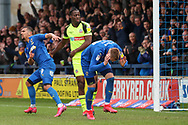 AFC Wimbledon striker Joe Pigott (39) and AFC Wimbledon striker Kweshi Appiah (9) after disallowed goal during the EFL Sky Bet League 1 match between AFC Wimbledon and Bolton Wanderers at the Cherry Red Records Stadium, Kingston, England on 7 March 2020.