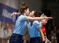 HAMBURG  (Ger) - Match 20,  for FINAL, LMHC Laren - Dinamo Elektrostal (Rus)  Photo: Maxime Kerstholt (Laren) scored. right Macey de Ruiter (Laren) Eurohockey Indoor Club Cup 2019 Women . WORLDSPORTPICS COPYRIGHT  KOEN SUYK