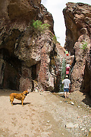 Hikers explore The Arizona Hot Springs in The Black Canyon, Nevada.