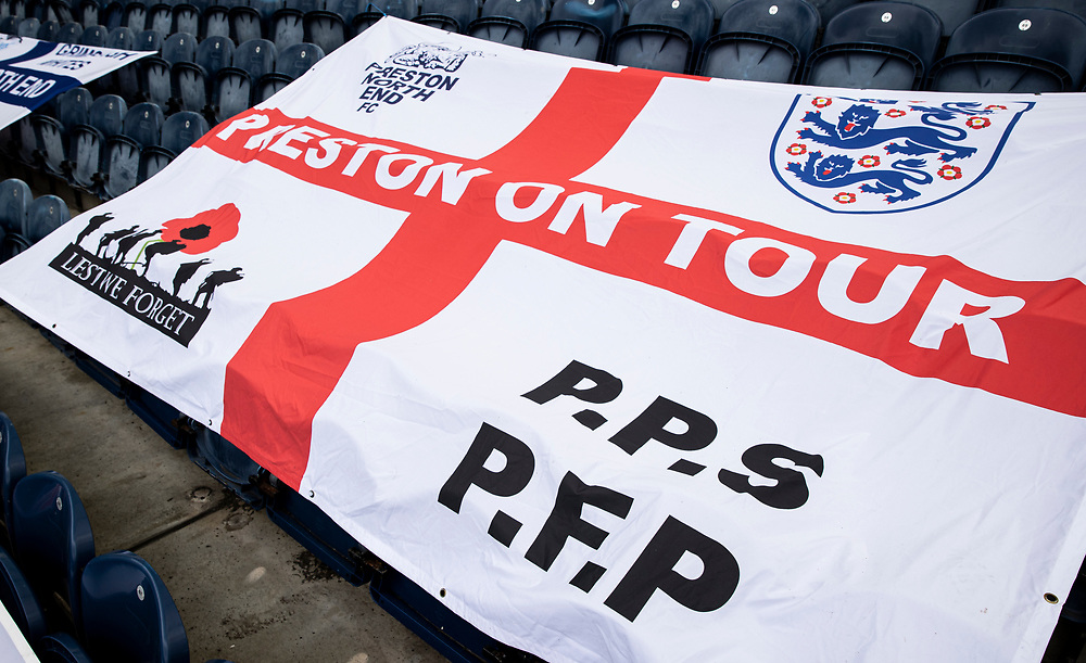 A general view of the supporters flags at the Deepdale stadium<br /> <br /> Photographer Andrew Kearns/CameraSport<br /> <br /> The EFL Sky Bet Championship - Preston North End v Nottingham Forest - Saturday 11th July 2020 - Deepdale Stadium - Preston <br /> <br /> World Copyright © 2020 CameraSport. All rights reserved. 43 Linden Ave. Countesthorpe. Leicester. England. LE8 5PG - Tel: +44 (0) 116 277 4147 - admin@camerasport.com - www.camerasport.com