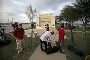 April 2, 2014 - Fort Hood, TX, USA - <br /> <br /> Gunman Kills 3, Wounds 16 at Fort Hood Army Base<br /> <br /> Media wait for an official statement at the Bernie Beck Main Gate at Fort Hood, Texas, on Wednesday, April 2, 2014, following a shooting at the base<br /> ©Exclusivepix