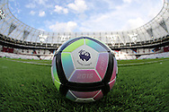 an Official 2016/17 Premier League match ball is seen on the pitch inside the London Stadium before k/o. UEFA Europa league, 3rd qualifying round match, 2nd leg, West Ham Utd v NK Domzale at the London Stadium, Queen Elizabeth Olympic Park in London on Thursday 4th August 2016.<br /> pic by John Patrick Fletcher, Andrew Orchard sports photography.