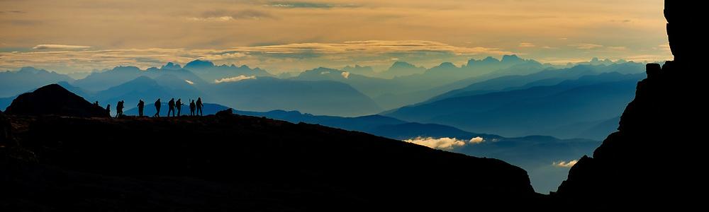 Climbers at Dawn, Dolomites, Italy