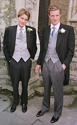 Left to right, MR BEN GOLDSMITH and his brother MR ZAC GOLDSMITH sons of the late Sir James Goldsmith, at a wedding in London on 5th June 1999.<br /> MSW 6