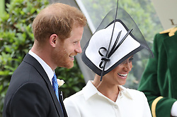 June 19, 2018 - Ascot, United Kingdom - Image licensed to i-Images Picture Agency. 19/06/2018. Ascot , United Kingdom . Duke and Duchess of Sussex on the opening day of Royal Ascot, United Kingdom. (Credit Image: © Stephen Lock/i-Images via ZUMA Press)