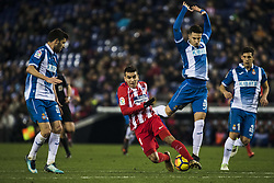 December 22, 2017 - Barcelona, Spain - BARCELONA, SPAIN - DECEMBER 22: 11 Angel Correa from Spain of Atletico de Madrid defended by 22 Mario Hermoso from Spain of RCD Espanyol during the match of La Liga Santander between RCD Espanyol v Atletico de Madrid, at RCD Stadium in Barcelona on 22 of December, 2017. (Credit Image: © Xavier Bonilla/NurPhoto via ZUMA Press)