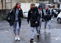 Charlie Wellings of Bristol City Women and Ebony Salmon of Bristol City Women arrives at Twerton Park prior to kick off - Mandatory by-line: Ryan Hiscott/JMP - 13/12/2020 - FOOTBALL - Twerton Park - Bath, England - Bristol City Women v West Ham United Women - Barclays FA Women's Super League
