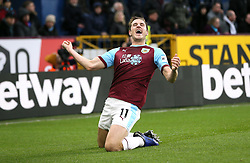 Burnley's Chris Wood celebrates scoring his side's first goal of the game during the Premier League match at Turf Moor, Burnley.