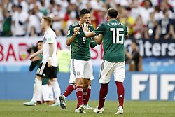 (l-r) Raul Jimenez of Mexico, Hector Herrera of Mexico during the 2018 FIFA World Cup Russia group F match between Germany and Mexico at the Luzhniki Stadium on June 17, 2018 in Moscow, Russia