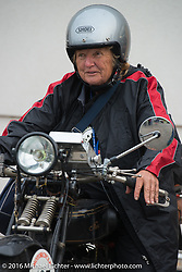 Claudia Ganzaroli of Italy on her 1928 Moto Frera during Stage 7 of the Motorcycle Cannonball Cross-Country Endurance Run, which on this day ran from Sedalia, MO to Junction City, KS., USA. Thursday, September 11, 2014.  Photography ©2014 Michael Lichter.