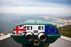Pound and Euro. Photographs from the top of the Rock of Gibraltar. Images of Gibraltar, the British overseas territory located on the southern end of the Iberian Peninsula at the entrance of the Mediterranean.