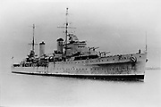 HMAS Sydney arriving in Sydney, Australia, 1936, modified Leander class light cruiser. In World War II on 19 November 1941 she engaged with the German cruiser Kormoran and was lost with 645 people on board. Navy Australian
