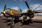 Prepping Lockheed P-38 Lightning for flight.