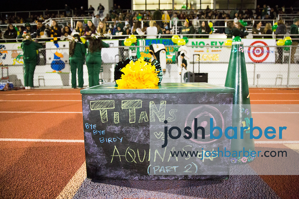 Notre Dame cheerleaders podium during the CIF-SS Boys Football Northwest Division Semifinal at J.W. North High School on Friday, November 27, 2015 in Riverside, California. (Photo/Josh Barber)