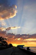 Sunset over the Malecon in Manzanillo, Granma Province, Cuba.