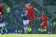 James Milner of Liverpool gets in front of Gareth Barry of Everton. Barclays Premier League match, Everton v Liverpool at Goodison Park in Liverpool on Sunday 4th October 2015.<br /> pic by Chris Stading, Andrew Orchard sports photography.