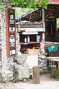 Self service buying of wine and fruit juice at a winery and farm. Potmje village, Dingac wine region, Peljesac peninsula. Dingac village and region. Peljesac peninsula. Dalmatian Coast, Croatia, Europe.