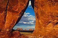 View of Monument Valley from Rock Door Mesa, Utah/Arizona border USA