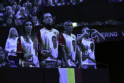 November 13, 2017 - London, United Kingdom - Bulgarian fans attend the Singles match between Grigor Dimitrov of Bulgaria and Dominic Thiem of Austria during day two of the Nitto ATP World Tour Finals at O2 Arena, London on November 13, 2017. (Credit Image: © Alberto Pezzali/NurPhoto via ZUMA Press)