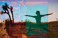 Warrior woman in the desert with mandala and colors patches with textures. Expansion Meditation Embodiment this is why we love yoga we experience and practice our greater multi-dimensional self through all things so we can bring this sense into reality; all things material and metaphysical. Woman demonstrating yoga poses and experiencing the spirit of joyfulness.