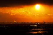 New-Jersey port cranes at sunset, NYC, USA